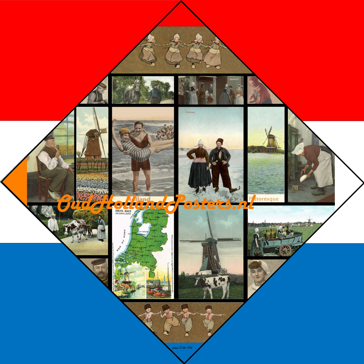 VSAP Old Holland pittoresque vintage poster inspired by Piet Mondriaan Victory boogie woogie in kleur O 9  ohp