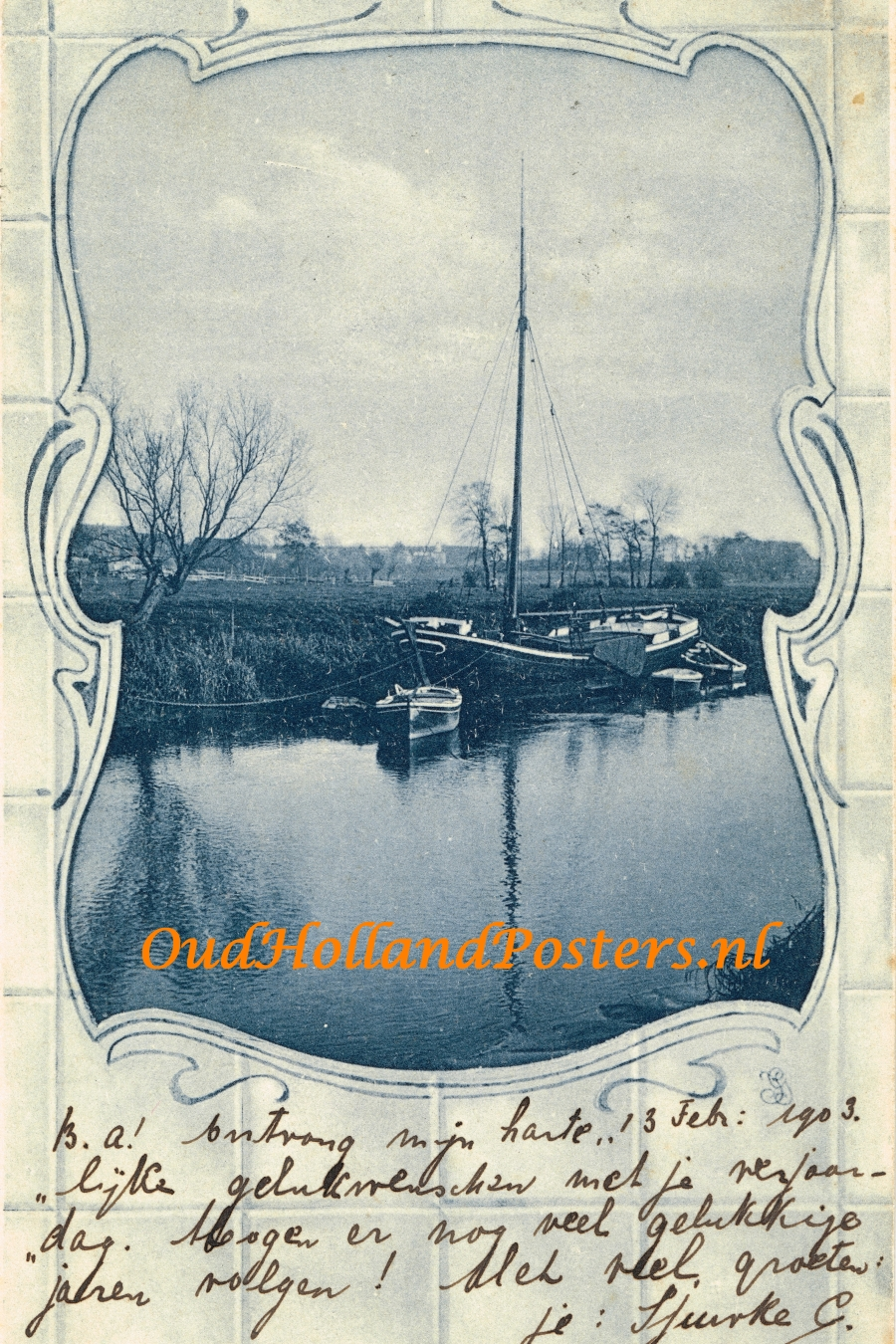 Oud Nederlands schip / Old Dutch ship 1903 2 3 OA 54 ohp